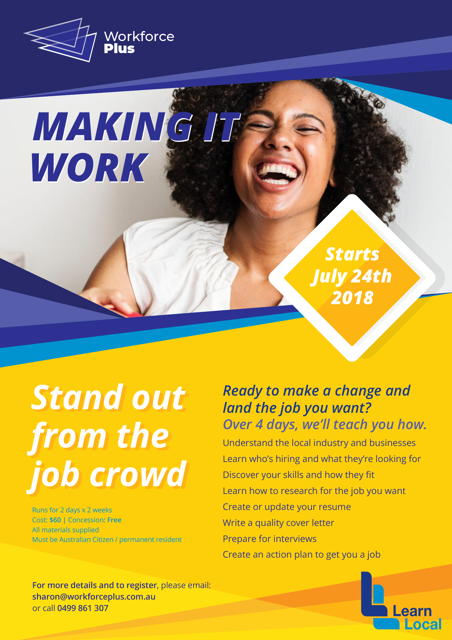 Stand out of the Job crowd training – July 2018 – Workforce Plus